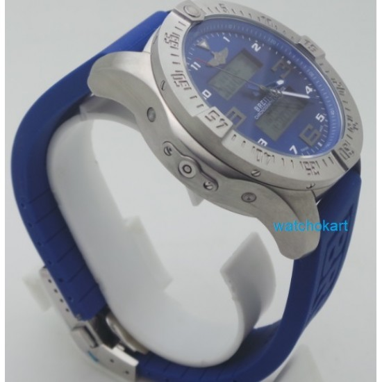 Breitling Exospace B55 Steel Blue Rubber Strap Watch
