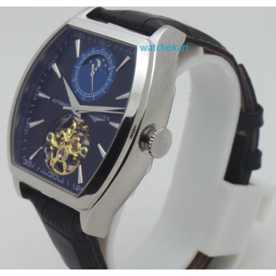 Longines Evidenza Sun Moon Phase Black Steel Swiss Automatic Watch