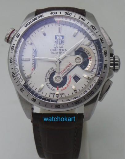 Tag Heuer Grand Carrera Calibre 36 Leather Strap White Swiss ETA 7750 Valjoux Movement Automatic Watch