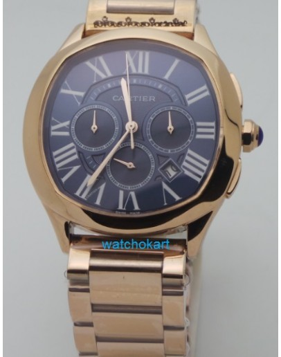 Cartier Drive De Cartier Choronograph Rose Gold Blue Watch