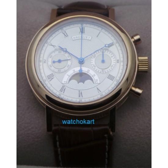Breguet Classique Chronopraph Rose Gold Swiss ETA 7750 Valjoux Automatic Movement Watch