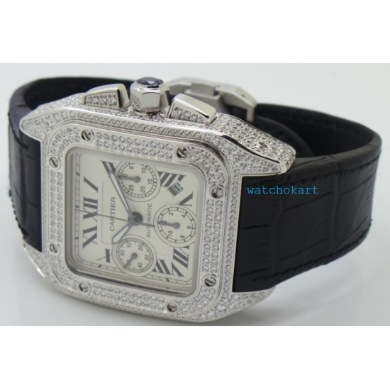 Cartier Santos 100 White Diamond Swiss ETA Valjoux 7750 Silver Watch