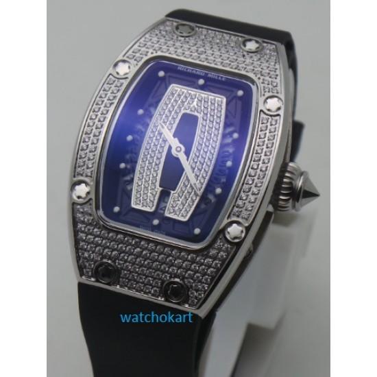Richard Mille Diamond Limited Edition Steel Ladies SWISS ETA 7750 Valjoux Movement Watch