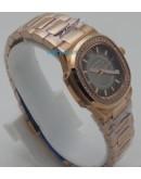 Patek Philippe Nautilus Smoke Grey Diamond Bezel Rose Gold Ladies Watch