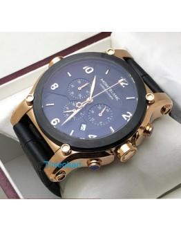 Mont Blanc Chronograph Black Leather Strap Watch