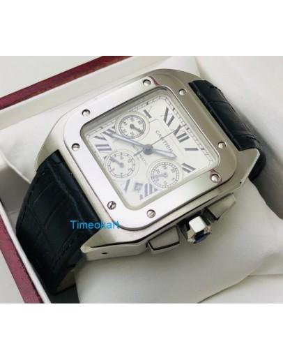 Cartier Santos 100 Swiss ETA Valjoux 7750 Steel  Watch